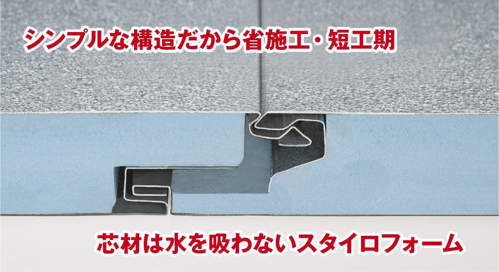シンプルな構造だから省施工・短工期。芯材は水を吸わないスタイロフォーム。